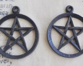 Two Brass Wiccan Pentagram charms, black satin finish
