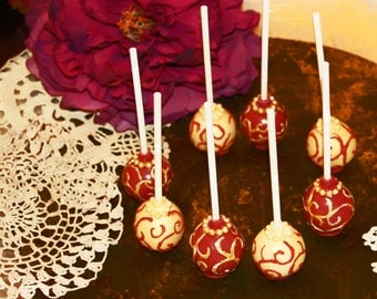 Cake Pops, Gold Cake Pops, Scroll Design Cake Pops