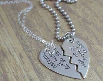 Sterling Broken Heart Necklace Set- Half My Heart is Deployed, Half My Heart is At Home- Deployment Jewelry, Military Couple, Army