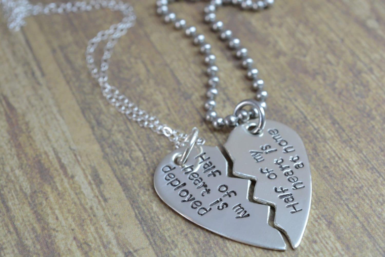Sterling Broken Heart Necklace Set Half My Heart is Deployed