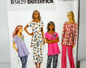 Misses' Pajama and Slippers Pattern - Butterick 5829 - Uncut - Plus Size
