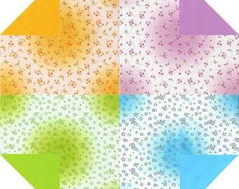 Flower Pattern Colored - Double Sided Origami Paper- 20 Sheets