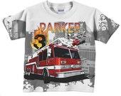 Fire Engine Shirt, Personalized Boys Firefighter, Fireman Birthday T-Shirt