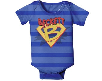 Superhero Bodysuit, Personalized Boy's Baby One Piece Super Hero Costume With Cape, Custom Onepiece, Baby Boy Clothing