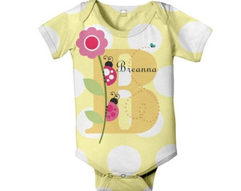 Personalized Ladybug Bodysuit, Monogram Infant Baby Girl One-Piece Romper