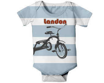 Tricycle Baby Bodysuit, Personalized One Piece, Blue Striped Custom Infant Boy Onepiece, Baby Clothing