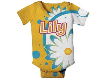 Personalized Baby Bodysuit, Citrus Floral Daisy Custom Infant Snapsuit