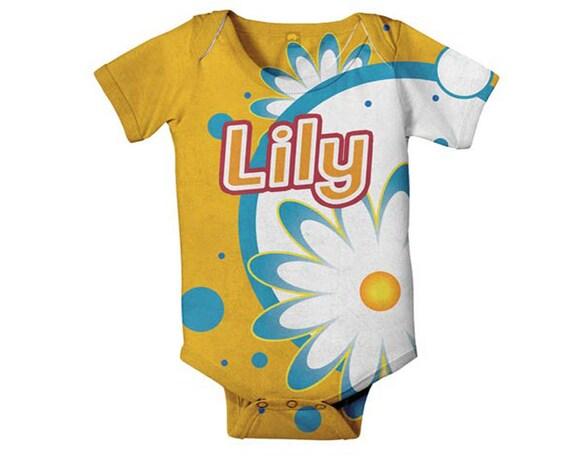 Personalized Baby Bodysuit, Citrus Floral Daisy Custom Infant Snapsuit