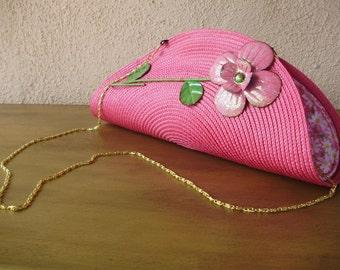 Hot Pink Clutch--Placemat Bag