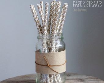 25 Gold Damask Paper Straws -  Standard 7.75'' / 19.68cm