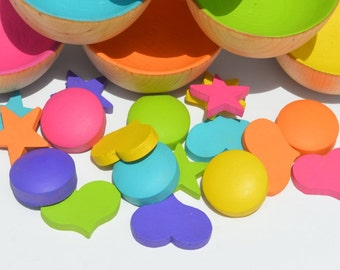 Counting Sorting Patterns Bright Rainbow Circles Stars and Hearts and Bowls Complete Set