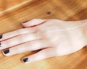 Dainty Silver-Tone Chain Hand Bracelet with Ring