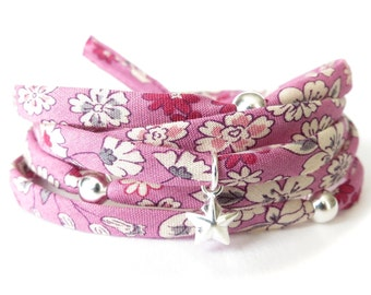 Fabric wrap bracelet in raspberry & cream florals with Sterling silver charms, birthday gift idea for girls, cute jewellery for women