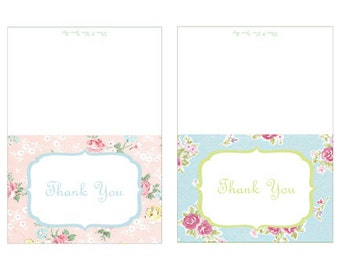 Instant Download Vintage Style Shabby Chic Printable Thank You Notes