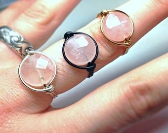 Healing Rose Quartz Ring - Wiccan Jewelry - Wire Wrapped Energy Ring - Unique Made to Order