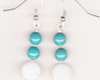 Handmade Jewelry, Beaded Earrings, White Shell Earrings, Teal Earrings, Turquoise Earrings, White and Teal Beaded Earrings, Beadwork