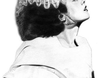 Frankenstein's Bride Portrait Digital Download - Original Graphite Portrait