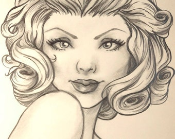 CUSTOM Drawing. Bust Commission with simple background.One of a Kind pencil personalised artwork.