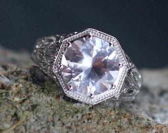 Moissanite Engagement Ring Antique Style Bezel Filigree Diamond cut 3.6ct 10mm Kleio Custom Size White-Yellow-Rose Gold-10k-14k-18k-Platinum