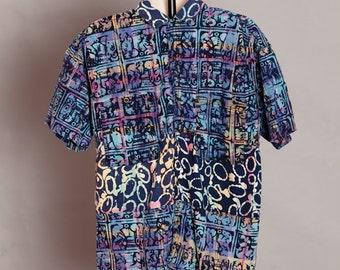 80s 90s Crazy Design and Colorful Shirt - HOBIE - S