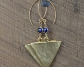 Gold Triangle Blue Evil Eye Earrings with Gold Hooks
