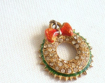 Christmas Wreath Pendant, Gold, Green, Red, Rhinestones - Small