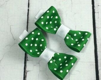 Christmas Emerald Polka Dot Baby Hair Bows - NEW Small Hairbows - Tuxedo Bow - No Slip Grip- Baby, Toddler. Girls