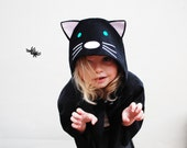Cat cape Halloween costume handmade in black velvet
