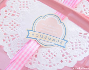 Pink Banner Shield HOMEMADE Seal Sticker for Wrapping and Packaging: 12 Pieces