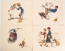 Vintage 1970's Norman Rockwell Young Love Print Set