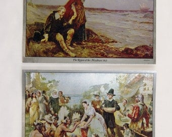 J.L.G. Ferris Return of the Mayflower and First Thanksgiving Color Foil Etch Print Set
