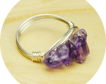 Amethyst Cluster Ring- Sterling Silver Filled Wire Wrapped Ring with Amethyst Chip Gemstones-Size 4, 5, 6, 7, 8, 9, 10, 11, 12, 13, 14