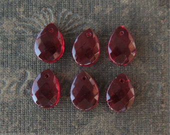 Small Garnet Czech Glass Hand Faceted Teardrop Charms 12x8mm Front to Back Hole (6)