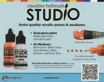 Ranger/ Claudine Hellmuth STUDIO Acrylic Paints, Gessos, Mediums in Matte and Gloss, Extra Time and 1/2 - 3/4 Brushes ALMOST GONE!!!