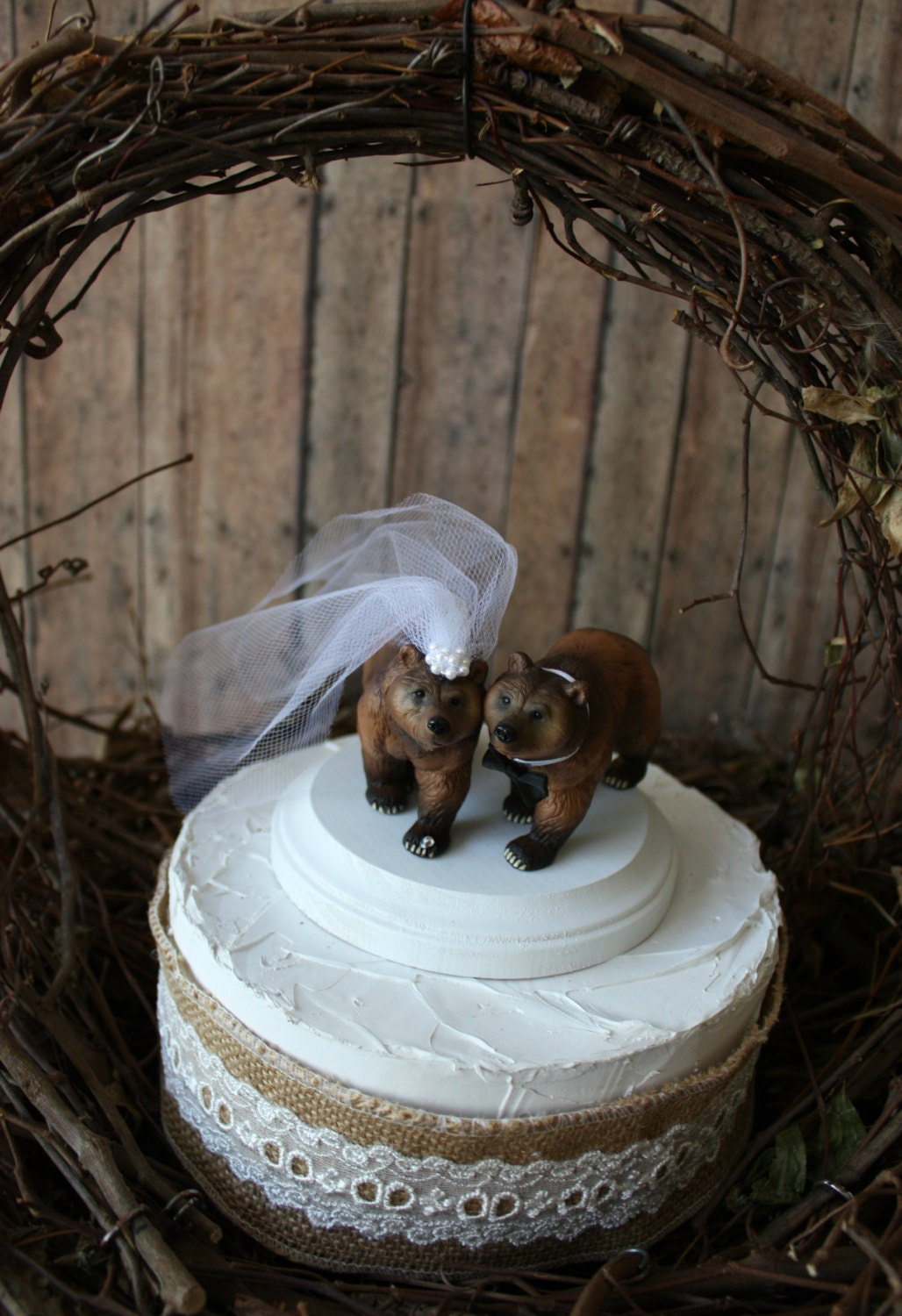 Brown bear wedding cake topper wedding grizzly