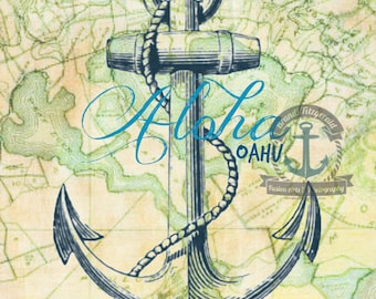 Oahu Hawaii Pearl Harbor Map Nautical Anchor Wall Decor At Checkout, Choose Lustre Print or Gallery Wrapped Canvas