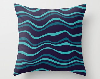Navy Teal Swirl Pattern Throw Pillow Modern Abstract Inked Texture Home Decor Product Sizes and Pricing via Dropdown Menu