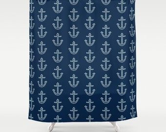 Shower Curtain: Navy Nautical Anchors Aweigh | 12 Eyelet/Button Hole | Size and Pricing via Dropdown