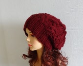 Handmade Knit Cable Hat Beanie Slouchy Hat Beanie Large  Men hat Women hat maroon Baggy cabled Slouchy hat Warm hat chunky slouchy hat,