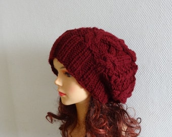 Handmade Knit Cable Hat Beanie Slouchy Hat Beanie Large for Men / Women maroon Baggy cabled Slouchy hat Warm hat