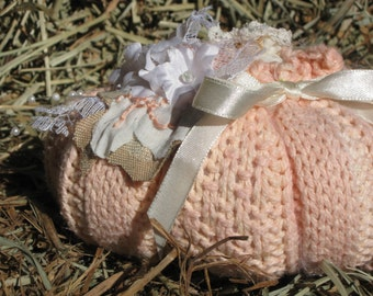 Pink Sweater Pumpkin with Lacy Flowers and Pearls