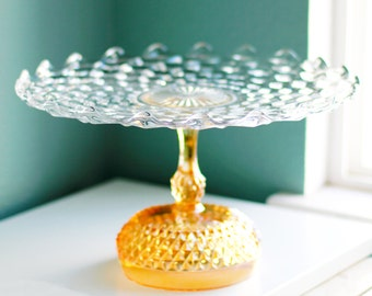 "Cake Stand in Golden Peach for Gold Weddings / 14"" Vintage Gold Cake Pedestal Stand / Cake Plate Pedestal / Rose Gold Vintage Crystal Glass"