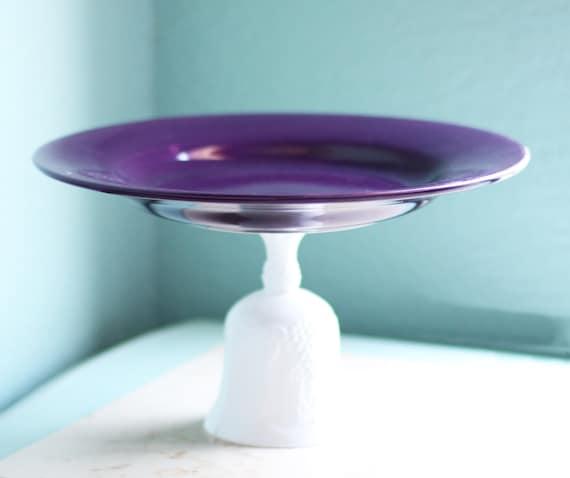 Purple Cake Stand Pedestal for Napa Valley Weddings / Cupcake Stand / Cake Pop Stand Macaron Stand Truffle Pedestal / Amethyst Plum Violet