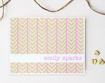 Pink and Cream Stationery Herringbone Personalized Custom Stationery Geometric Tribal Print Chevron Note Cards Hostess Gift Pink / Set of 10