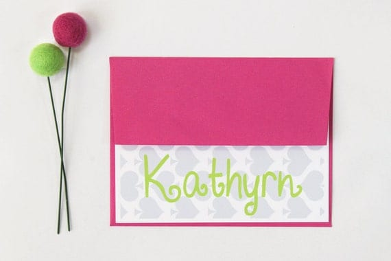Kids Stationery Personalized Note Cards Custom Stationery Pink and Grey Stationary Thank You Notes Pink Lime Green Spades Bridesmaid Gifts