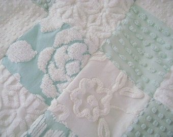 CUSTOM 'Sample' Quilt - Vintage Chenille -  PLUSH Lap Quilt - Aqua and White - Special Order