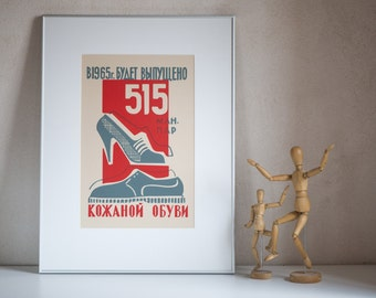 Soviet style poster shoes for man woman, 1965 grey genuine leather shoes, print in Russian digital, poster wall art old skool
