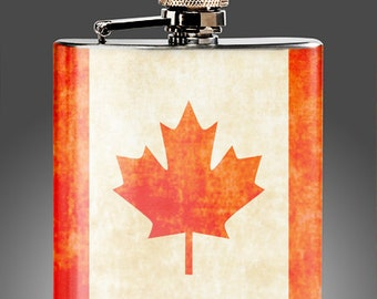 Canadian Flask - Whiskey Flasks - , Wedding  Flasks, Party Gifts, Canada, Stainless Steel 6 oz Liquor Hip Flask