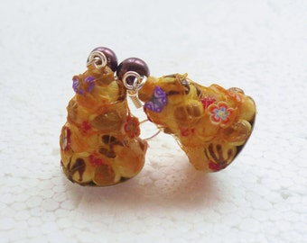 Croquembouche Earrings. Polymer Clay.