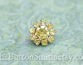 Rhinestone Buttons -Cleopatra- (11mm) RS-001 in Citrine - 5 piece set